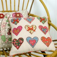 Shabby Chic Styled Pretty Patchwork Appliqué Hearts Scatter Cushion
